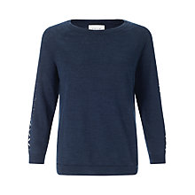 Buy Jigsaw Cutout Linen-blend Sweater, Navy Online at johnlewis.com