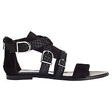 Buy Jigsaw Luisa Flat Sandals, Black Leather Online at johnlewis.com