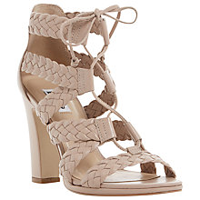 Buy Dune Ivee Lace Up Block Heeled Sandals, Nude Leather Online at johnlewis.com