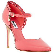 Buy Dune Courtney Leather Laser Cut Scallop Court Shoes, Coral Online at johnlewis.com