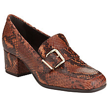 Buy John Lewis Giselle Heeled Leather Loafers, Brown Leather Online at johnlewis.com