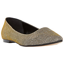 Buy Dune Amerie Flat Toe Point Pumps, Gold Online at johnlewis.com