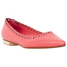 Buy Dune Alexis Flat Leather Pumps, Coral Online at johnlewis.com