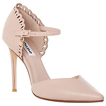 Buy Dune Courtney Leather Laser Cut Scallop Court Shoes, Blush Online at johnlewis.com