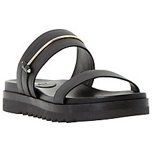 Buy Dune Logann Leather Double Strap Slip On Sandals, Black Online at johnlewis.com