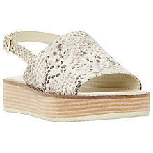 Buy Dune Lonzo Reptile Effect Leather Flatform Slingback Sandals, Natural Online at johnlewis.com