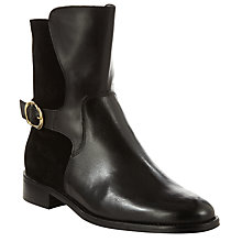 Buy John Lewis Women's Riley Side Buckle Mid Boots, Black Leather Online at johnlewis.com