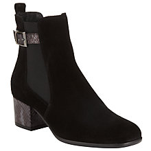 Buy John Lewis Oriana Block Heel Suede Ankle Boots, Black Suede Online at johnlewis.com