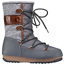 Buy Moon Boot Vienna Flat Calf Boots, Grey Online at johnlewis.com