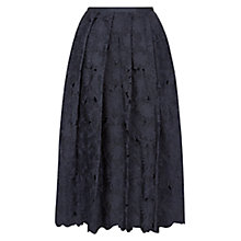 Buy Hobbs Lily Flower Silk Skirt, Navy Online at johnlewis.com
