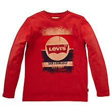 Buy Levi's Boys' Dominic Logo Long Sleeve T-Shirt, Red Online at johnlewis.com