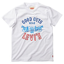 Buy Levi's Boys' Good Guys Short Sleeve T-Shirt, White Online at johnlewis.com