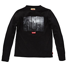Buy Levi's Boys' Derick Skyscraper T-Shirt, Black Online at johnlewis.com