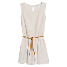 Buy Mango Embroidered Belt Dress, Light Beige Online at johnlewis.com