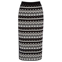 Buy Oasis Geometric Zanzibar Skirt, Black/White Online at johnlewis.com