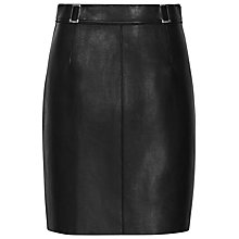 Buy Reiss Bonded Leather Mini Skirt, Black Online at johnlewis.com
