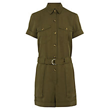 Buy Karen Millen Soft Safari Playsuit, Khaki Online at johnlewis.com