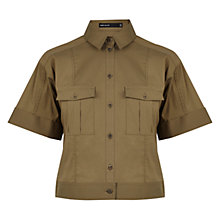 Buy Karen Millen Cropped Utility Shirt, Khaki Online at johnlewis.com