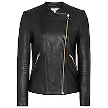 Buy Reiss Anna Collarless Biker Jacket, Black Online at johnlewis.com