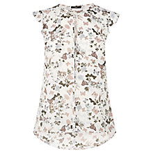 Buy Oasis Butterfly Frill Sleeve Top, Multi White Online at johnlewis.com
