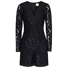 Buy Reiss Mischa Lace Shine Playsuit, Night Navy Online at johnlewis.com