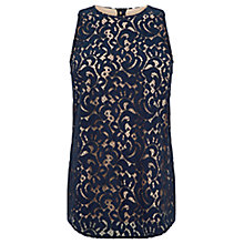 Buy Oasis Lace Curve Hem Vest, Navy Online at johnlewis.com
