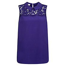 Buy Hobbs Silk Mey Lace Top, Violet Online at johnlewis.com