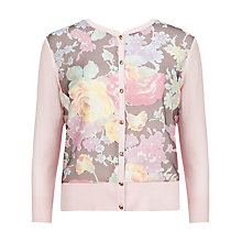 Buy Ted Baker Eren Colourful Burnout Floral Print Cardigan, Pink Online at johnlewis.com