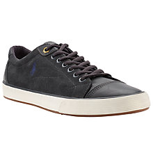 Buy Polo Ralph Lauren Klinger Leather Trainers, Dark Carbon Grey Online at johnlewis.com
