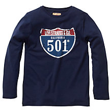 Buy Levi's Boys' 501 Sign Print Long Sleeve T-Shirt, Navy Online at johnlewis.com