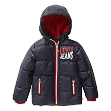 Buy Levi's Boys' Plume Padded Hood Jacket, Navy Online at johnlewis.com