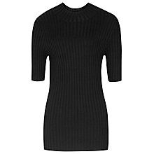 Buy Reiss Chambers High Neck Rib Jumper, Black Online at johnlewis.com