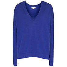 Buy Reiss Merino Wool Raya V-Neck Jumper, Electric Blue Online at johnlewis.com