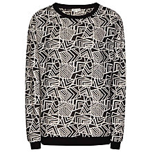 Buy Reiss Edwin Open Stitch Sweatshirt, Black/Off White Online at johnlewis.com