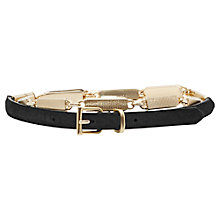 Buy Reiss Narrow Chain Link Leather Belt, Black/Gold Online at johnlewis.com