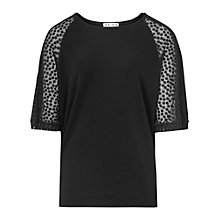 Buy Reiss Hermione Sheer Sleeve Top, Black Online at johnlewis.com