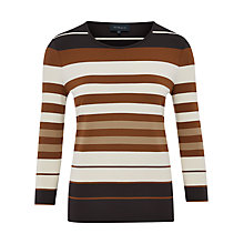 Buy Viyella Stripe Jersey Top, Tan Online at johnlewis.com