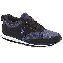 Buy Polo Ralph Lauren Ponte Land Leather Trainers,  Black/Newport Navy Online at johnlewis.com