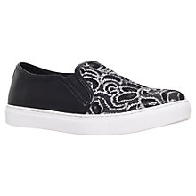 Buy KG by Kurt Geiger Lashes Slip On Trainers, Black/White Leather Online at johnlewis.com