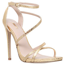 Buy Carvela Georgia Leather High Heel Strappy Sandals, Gold Online at johnlewis.com