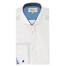 Buy Ted Baker Ness Plain Jacquard Cotton Shirt, White Online at johnlewis.com