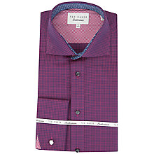Buy Ted Baker Ness Tonal Puppytooth Jacquard Cotton Shirt, Red Online at johnlewis.com