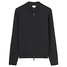 Buy Jigsaw Merino Wool Bomber Jacket, Charcoal Online at johnlewis.com