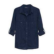 Buy Violeta by Mango Ribbed Contrast Blouse, Navy Online at johnlewis.com