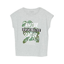 Buy Violeta by Mango Printed Message T-Shirt, Grey Online at johnlewis.com