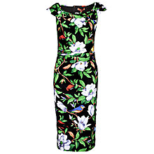 Buy Jolie Moi Tropical Print Ruched Dress, Black Online at johnlewis.com