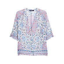 Buy Violeta by Mango Paisley Print Blouse, Pastel Blue Online at johnlewis.com