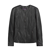 Buy Violeta by Mango Leather Jacket, Black Online at johnlewis.com