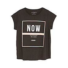 Buy Violeta by Mango Cotton Printed Message T-Shirt, Black Online at johnlewis.com