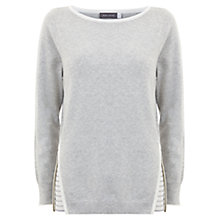 Buy Mint Velvet Stripe Insert Knit Top, Grey / Ivory Online at johnlewis.com